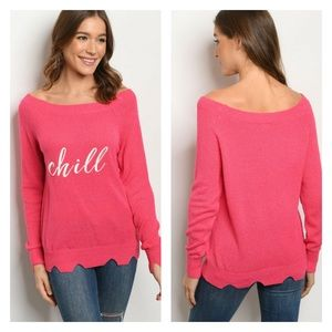 Pink Chill Embroidered Sweater